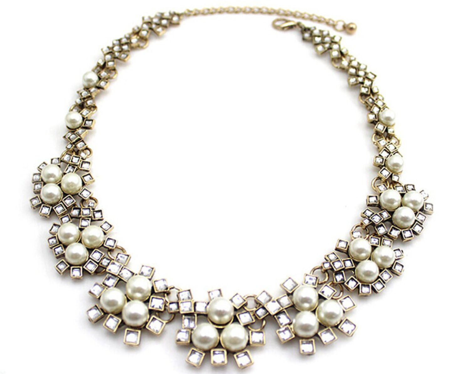 Wiipu wedding pearl necklace crystal necklace(C1502)