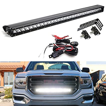 ijdmtoy behind grille mount 30-inch led light bar kit for 2014-18 gmc