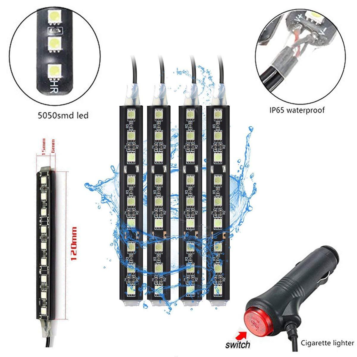 Car LED Strip Light,4pcs Interior Under Dash Lighting Kit LED Multicolor Auto Interior LED Atmosphere Lights Green
