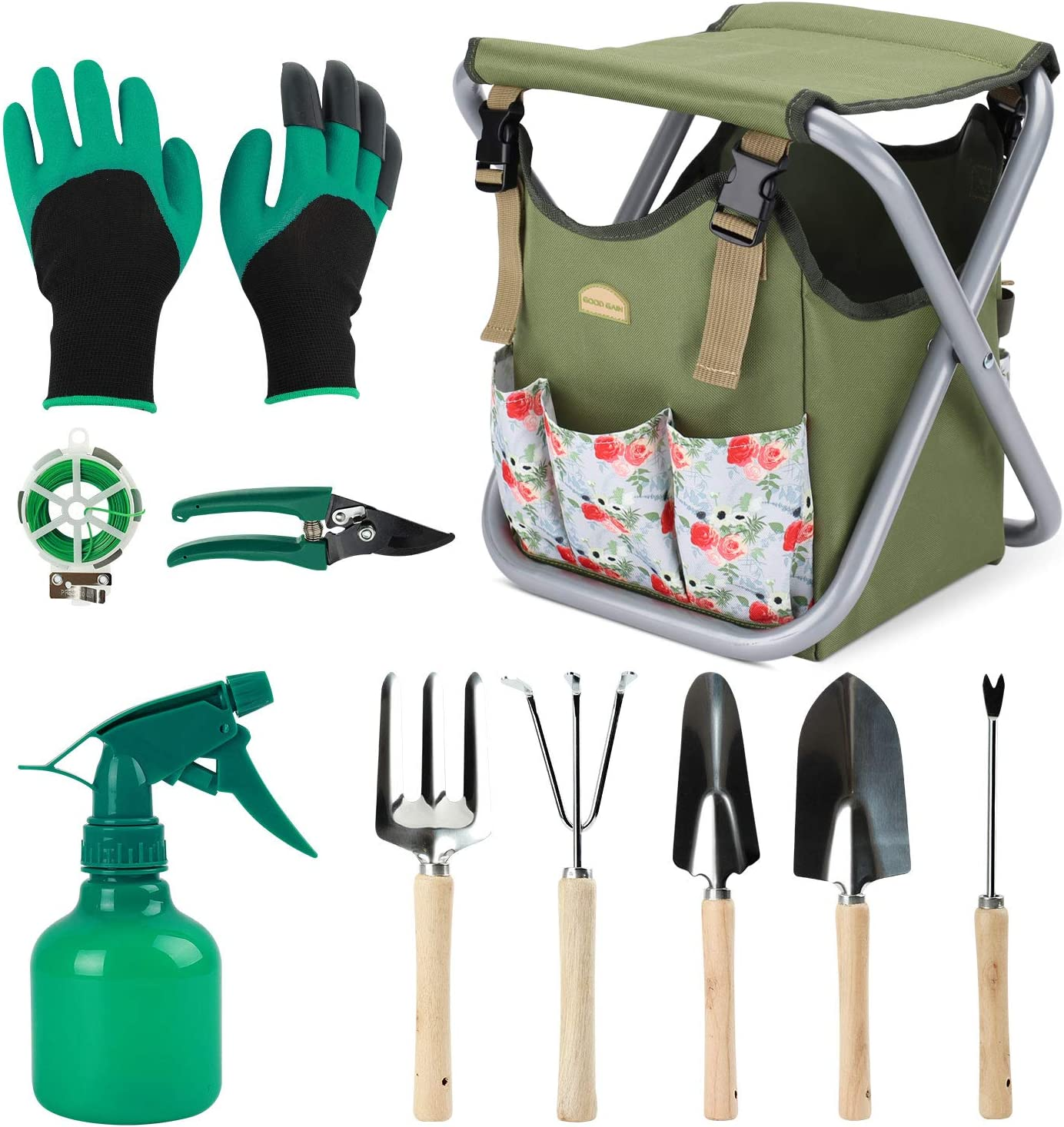G GOOD GAIN 12 pcs Garden Tools Stool, Gardening Hand Tools Set with Folding Chair Seat and Garden Storage Tote Bag, Garden Tools Carrier, Digging, Gardening Gifts Set for Mom/Dad and Gardeners. Rose
