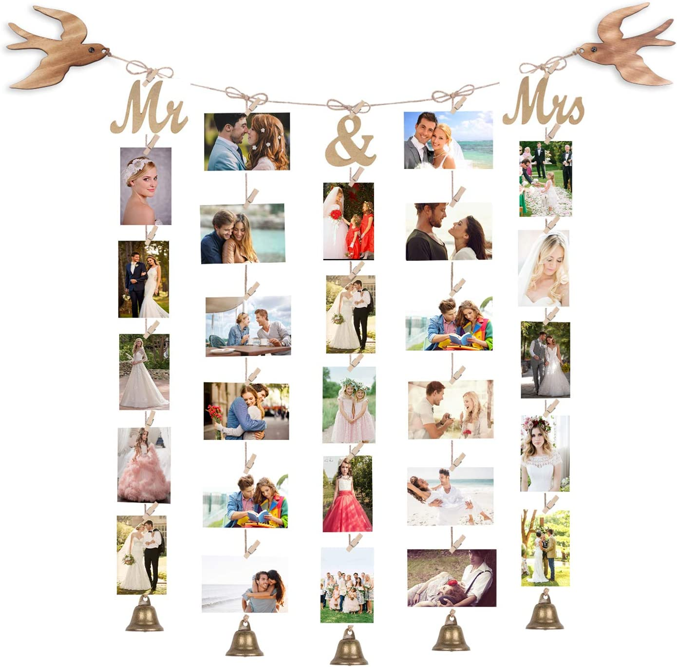 Emfogo Collage Picture Frames Hanging Photo Display for Wall Decor with 30 Clips and 5 Rustic Bronze Bell Multi Picture Frames for Home Office Room Decor