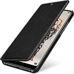StilGut Book Type Case, Custodia per Huawei P20 PRO a Libro Booklet in Vera Pelle con Funzione on/off, Nero