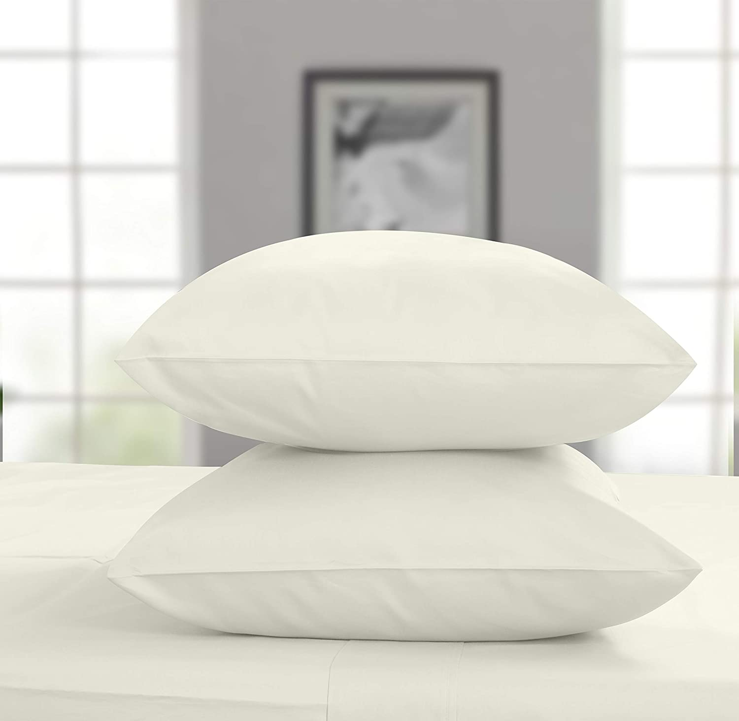 Threadmill Home Linen 600 Thread Count 100% Cotton Pillow Cases Solid Sateen Set of 2 Cotton Pillowcases Standard Size, Luxury Soft and Smooth, Ivory