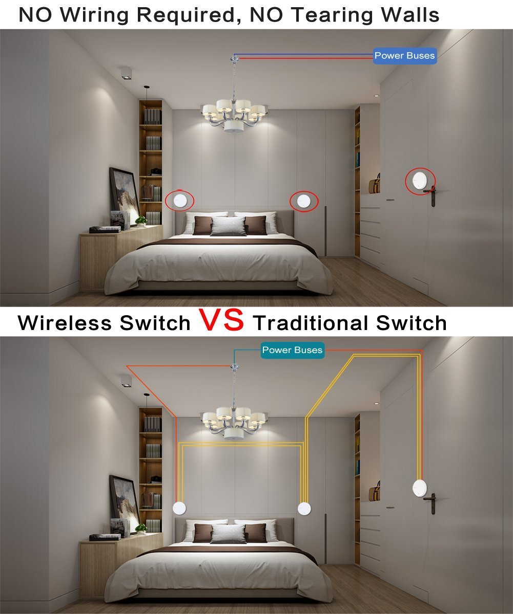 Create 3 Way Wireless Remote Control Light Switches And Receiver Kit No Wiring Lighting Battery Easily Quickly Switch For Lamps Fans Appliances