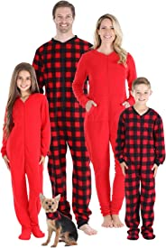 Sleepyheads Family Matching Fleece Buffalo Plaid and Solid Red Onesie Pajamas