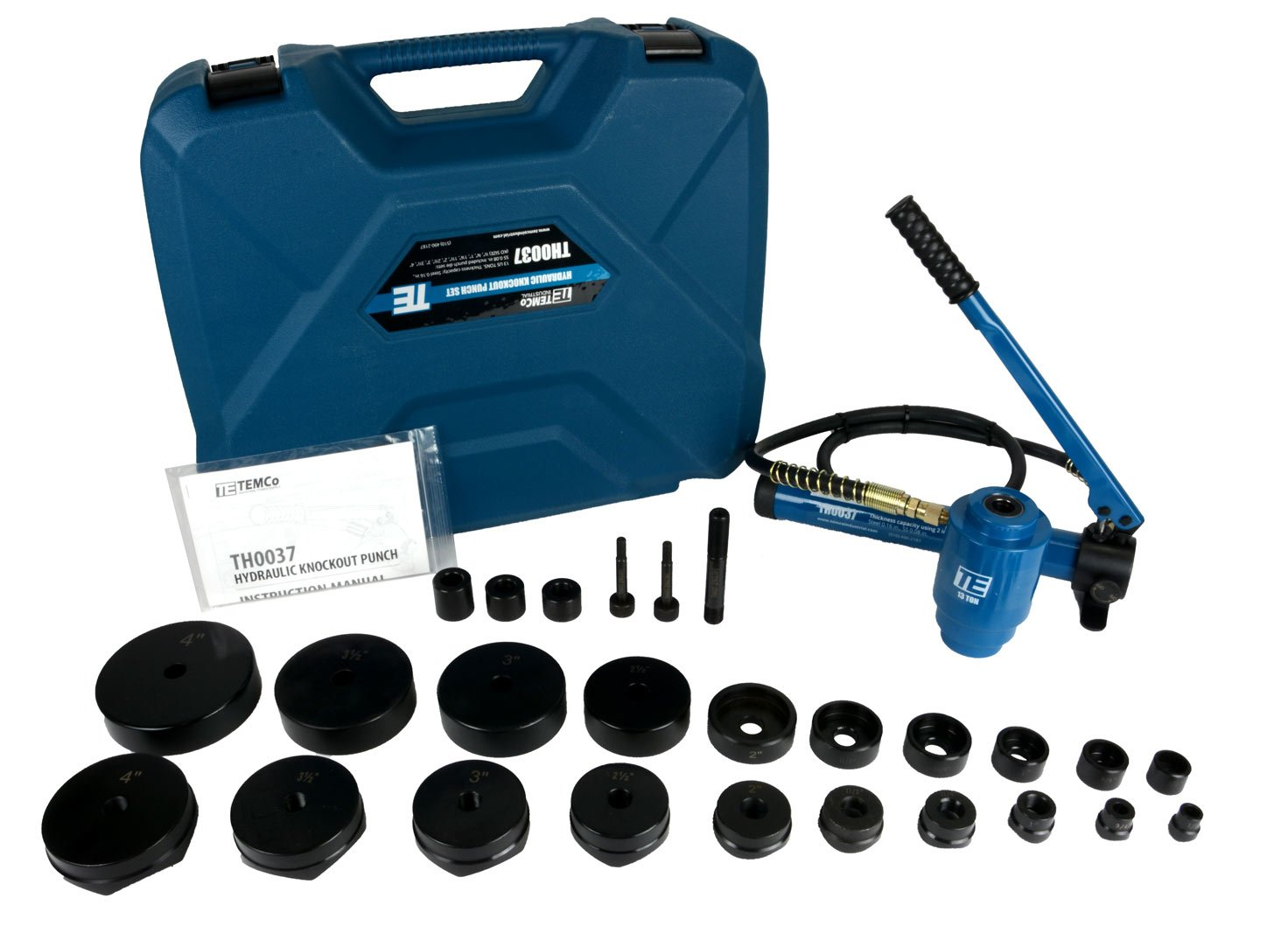 TEMCo TH0037 4'' HYDRAULIC KNOCKOUT PUNCH Electrical Conduit Hole Cutter Set KO Tool Kit 5 Year Warranty