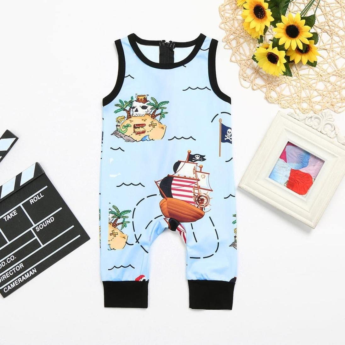 Efaster Toddler Baby Boy Girl Cartoon Pirate Print Zip Romper Jumpsuit Clothes