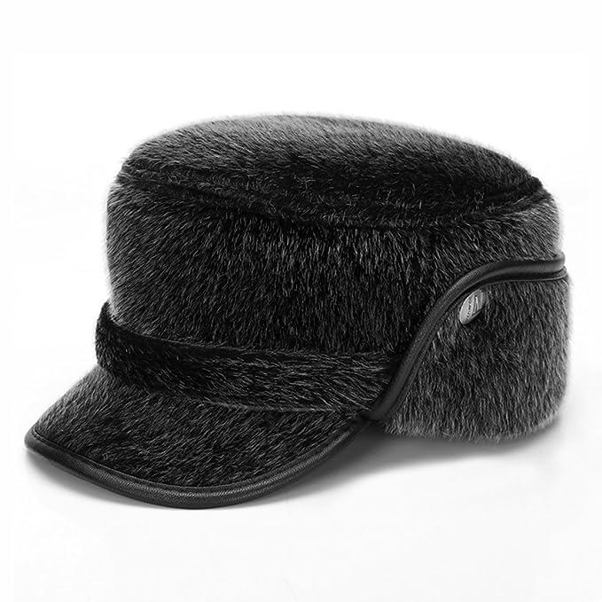 34c633802de MSFGJZM Winter Thicken Flat Top Bomber Hats Men Russian Snow Hat with  Earflaps Retro Faux Fur