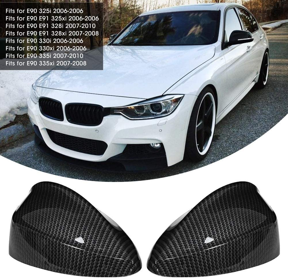 KIMISS Pair of Carbon Fiber Style Rearview Mirror Cover 51167135097 51167135098 Fits for E90 E91
