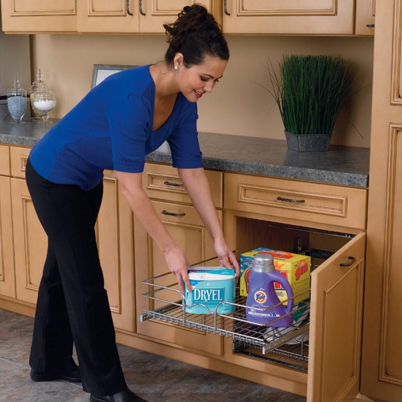 Rev-A-Shelf Chrome Metal 18-inch Pullout 2-Tier Wire Basket Cookware Cabinet Organizer by Rev-A-Shelf