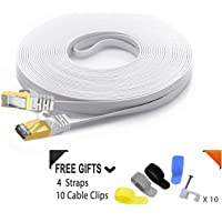 Cat 7 Ethernet Cable 50FT White (The Fastest Speed) Flat Internet Network Cable - Cat7 Ethernet Patch Cable Short - Computer LAN Cable with Snagless RJ45 Connectors + Free Cable Clips and Straps