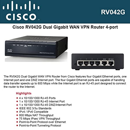 CISCO RV042G Cisco Small Business RV042G Dual Gigabit WAN VPN Router 4 port S Cisco RV042G VPN Load-Balance Router ?????? Internet ??a???? 2 Routers at amazon