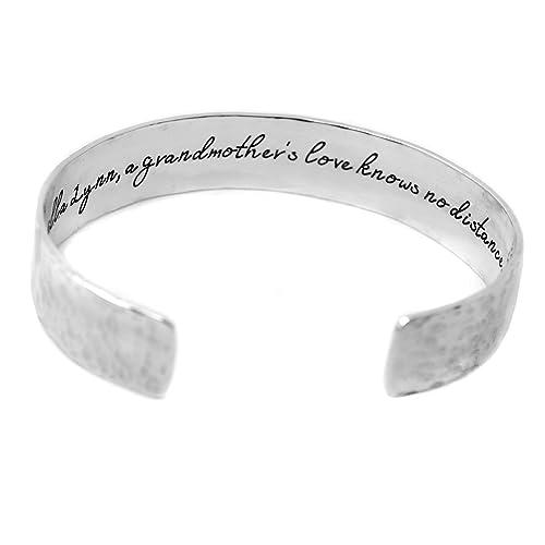 Bangle bracelet for women Personalized engraved bracelet for mom Custom bracelet with encouraging message