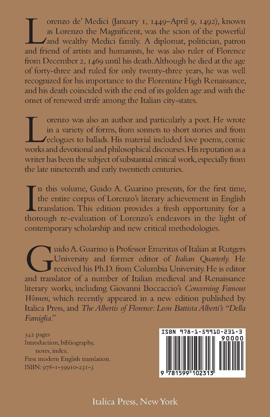 Buy The Complete Literary Works of Lorenzo de' Medici, the