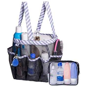b4d0002aab18 Attmu 2 Pack One Portable Shower Caddy with 8 Mesh Storage Pockets, One  Extra Transparent Bag, Quick Dry Shower Tote Bag Oxford Hanging Toiletry  and ...