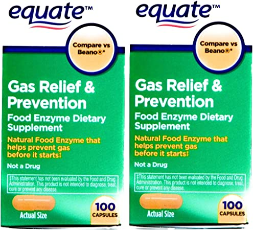 Equate 2 Pack of Gas Relief Prevention, Food Enzyme Dietary Supplement, 200 Count