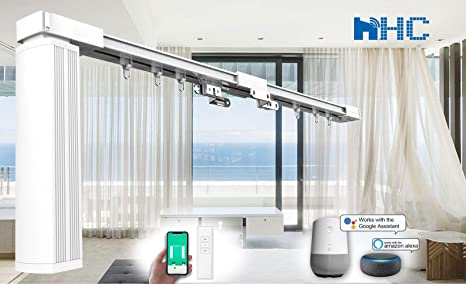 HC Smart Wifi - Barras de cortina eléctricas para cortinas motorizadas, cortina eléctrica, automatización del hogar compatible con Alexa, Google Home, metal, Blanco, 157