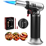 Butane Torch with Fuel Gauge,Homitt Refillable Cooking Torches with One-handed Operation &Safety Lock,Adjustable Flame,Fit Al