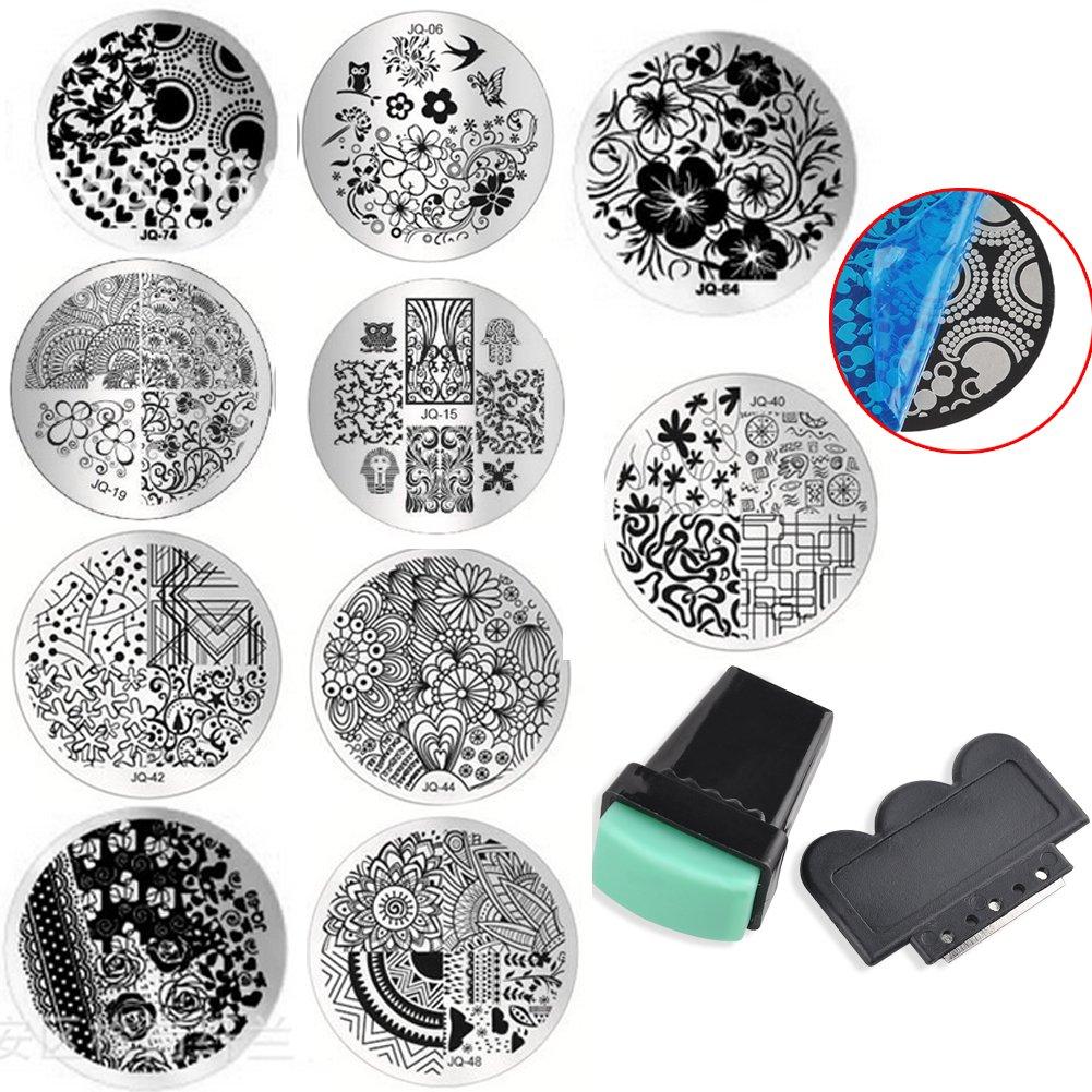Stanaway 10 Nail Art Stencils Plates Stamping Set Nail gel design Nail art + 1 Stamper And 1 Scraper