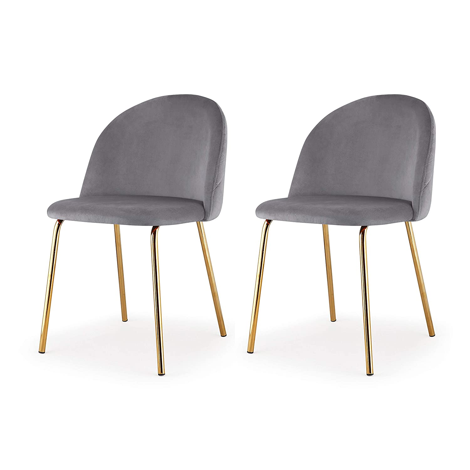 M60 Modern Velvet Chair- Set of 2 Piece Velvet Upholstery Gold Frame Chair Set- Steel Base Side Chair- Elegant and Comfortable Design – Ideal for Dining Room- Multiple Colors Available Grey
