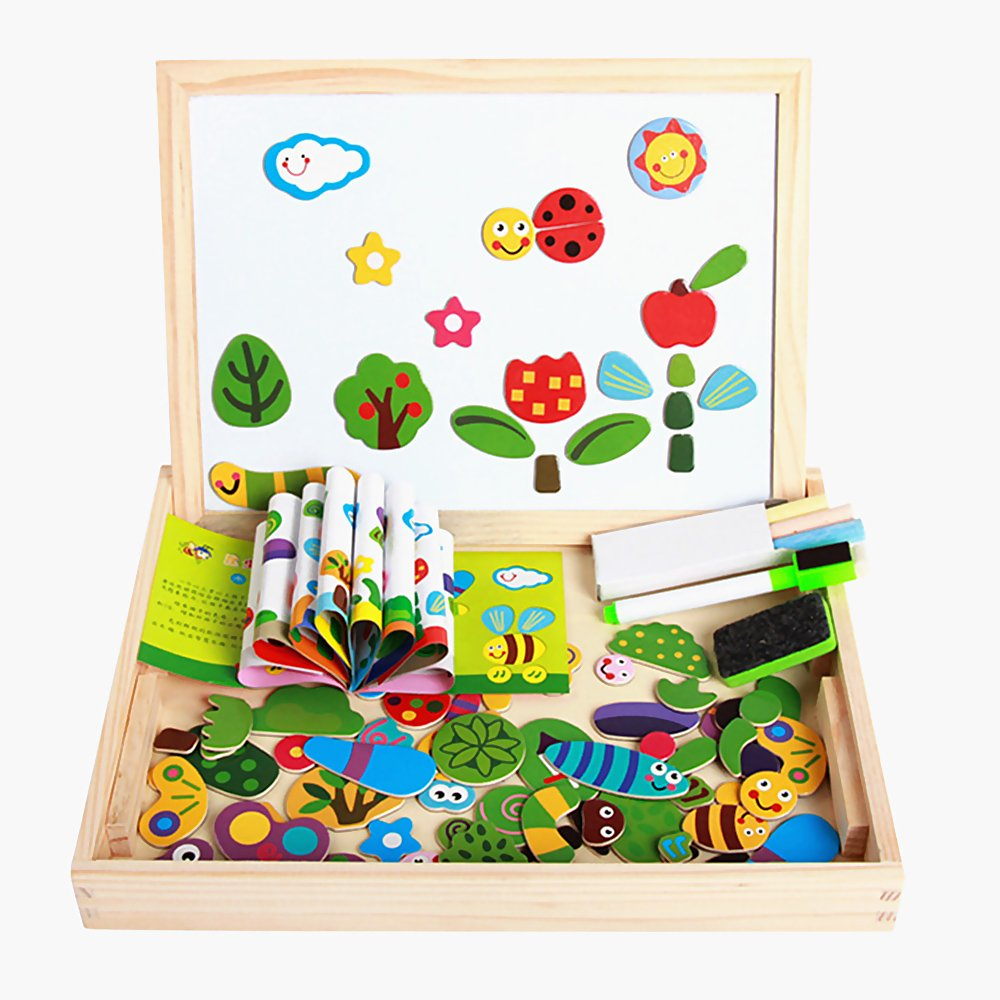 New-Hi Wooden Educational Toys, Kids Toddler Early Educational Magnetic Cute Animal Jigsaw Puzzle Drawing Board Puzzle Art Easel Games Toys Set Gifts (Insect)