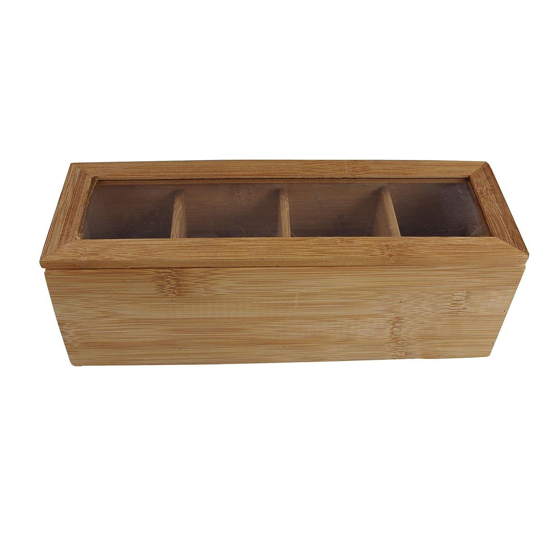 Zoozio Tv - Scatola per bustine da tè in bambù con 4 scomparti, 270 x 90 x 90 mm Markenlos 32416