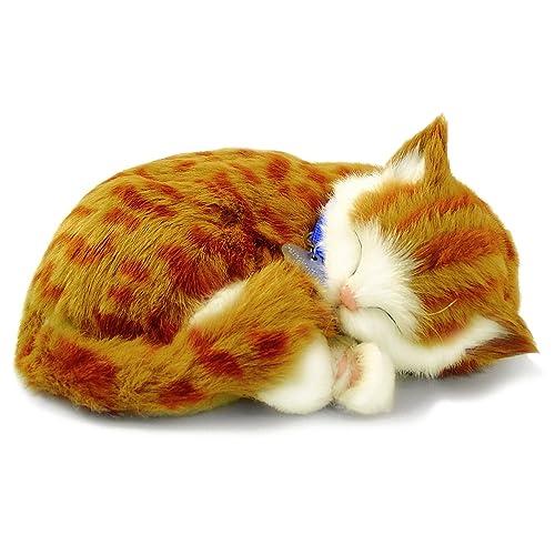 Perfect Petzzz - 65431 - Peluche Interactive - Chat - Tabby - Orange - Animal Qui Respire pour de Vrai - 25 cm