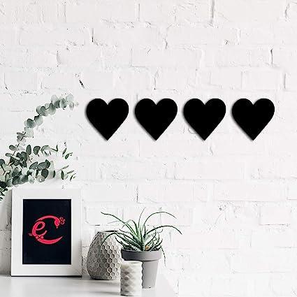 eCraftIndia Set of 4 Hearts Black Engineered Wood Wall Art Cutout, Ready to Hang Home Decor