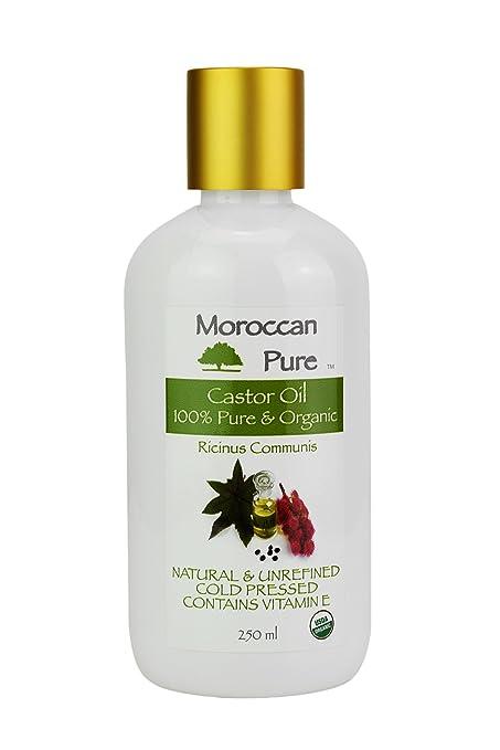 Aceite de ricino orgánico 100% puro y orgánico prensado en frío, reduce el picor en ...
