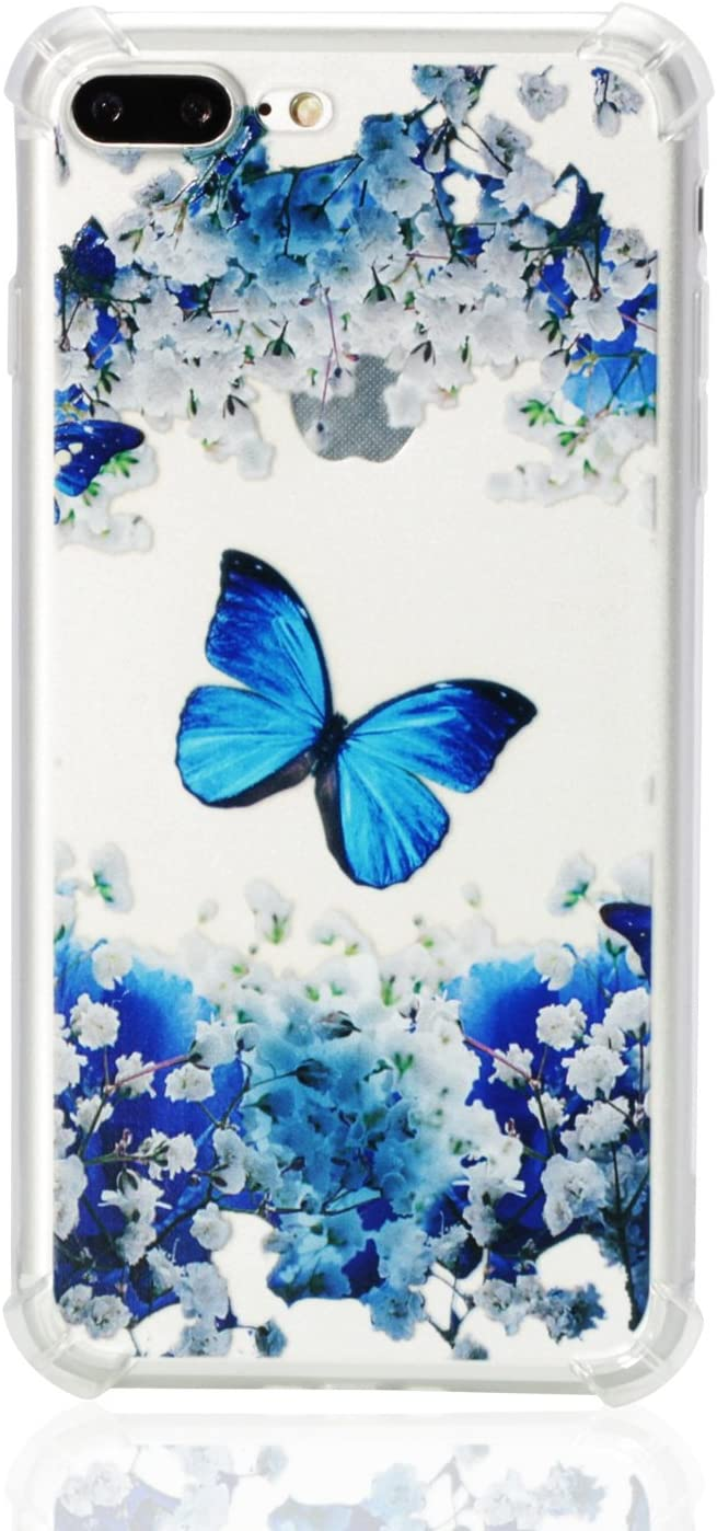 Huskylove Case for iPhone 7p/8p, Clear Flower Blue Butterfly Pattern Design Soft Flexible TPU Ultra-Thin Shockproof Transparent Girls Women Floral Cover 5.5inch (Blue Butterfly, ip7p/8p)