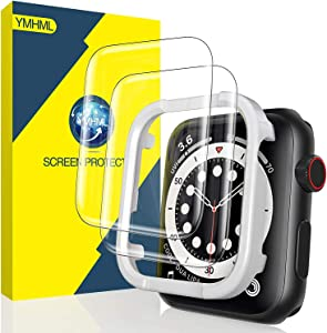 [2 Pack] YMHML Screen Protector Compatible for Apple Watch 44mm SE Series 6 Series 5 Series 4, Tempered Glass [Full Coverage] 3D Curved Edge with [Installation Frame] for iWatch 44mm Accessories