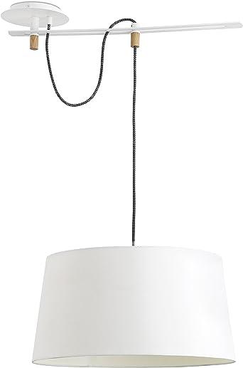 Imagen deFaro Barcelona 28394 - FUSTA Lámpara Colgante, 20W, cuerpo de metal y madera y pantalla de textil blanca, color blanco           [Clase de eficiencia energética A]