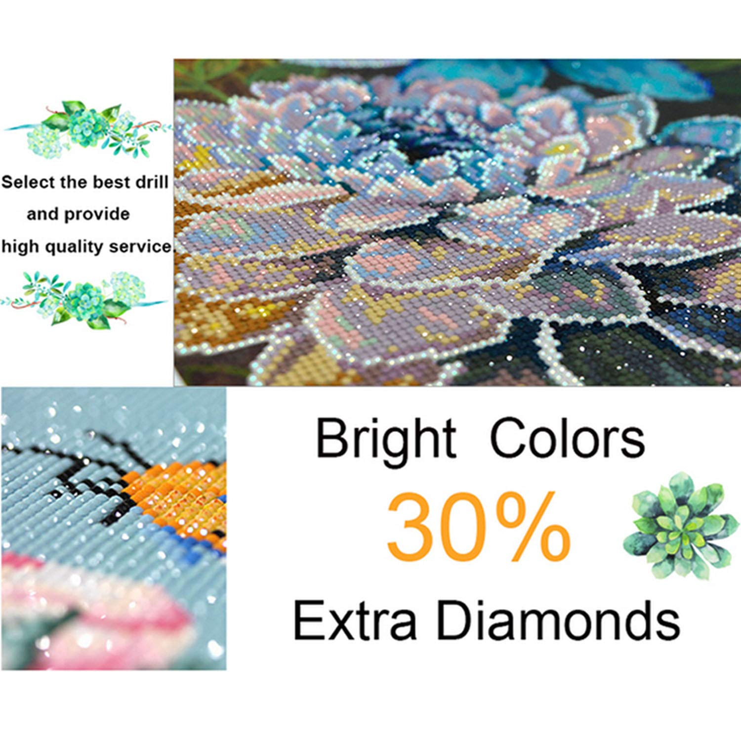 5d DIY Diamond Embroidery Sunrise Landscape Cross Stitch Full Round Diamond Sea Diamond Painting Rhinestones Love Gift,Green,85x115cm by ONLY-FOR-ME-1 (Image #4)