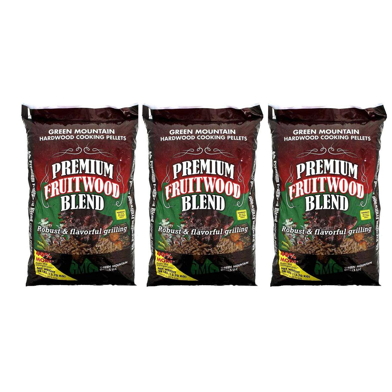 Green Mountain Grills Premium Fruitwood Pure Hardwood Grilling Cooking Pellets (3 Pack)