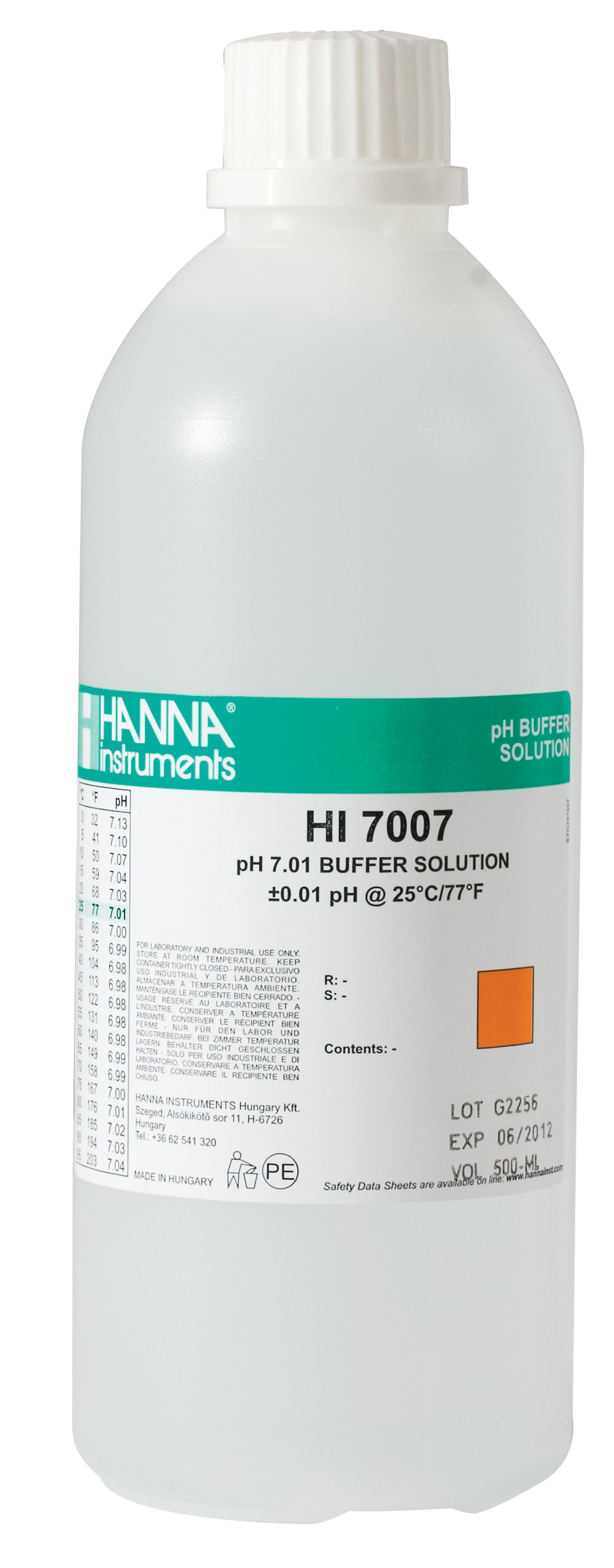 Hanna Instruments HI7007L 7.01 pH Calibration Buffer Solution, 500mL Bottle