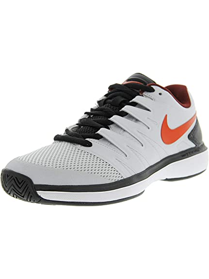Nike Men s Air Zoom Prestige Hc Platinum Red Black White Tennis Shoes- 31f273c09