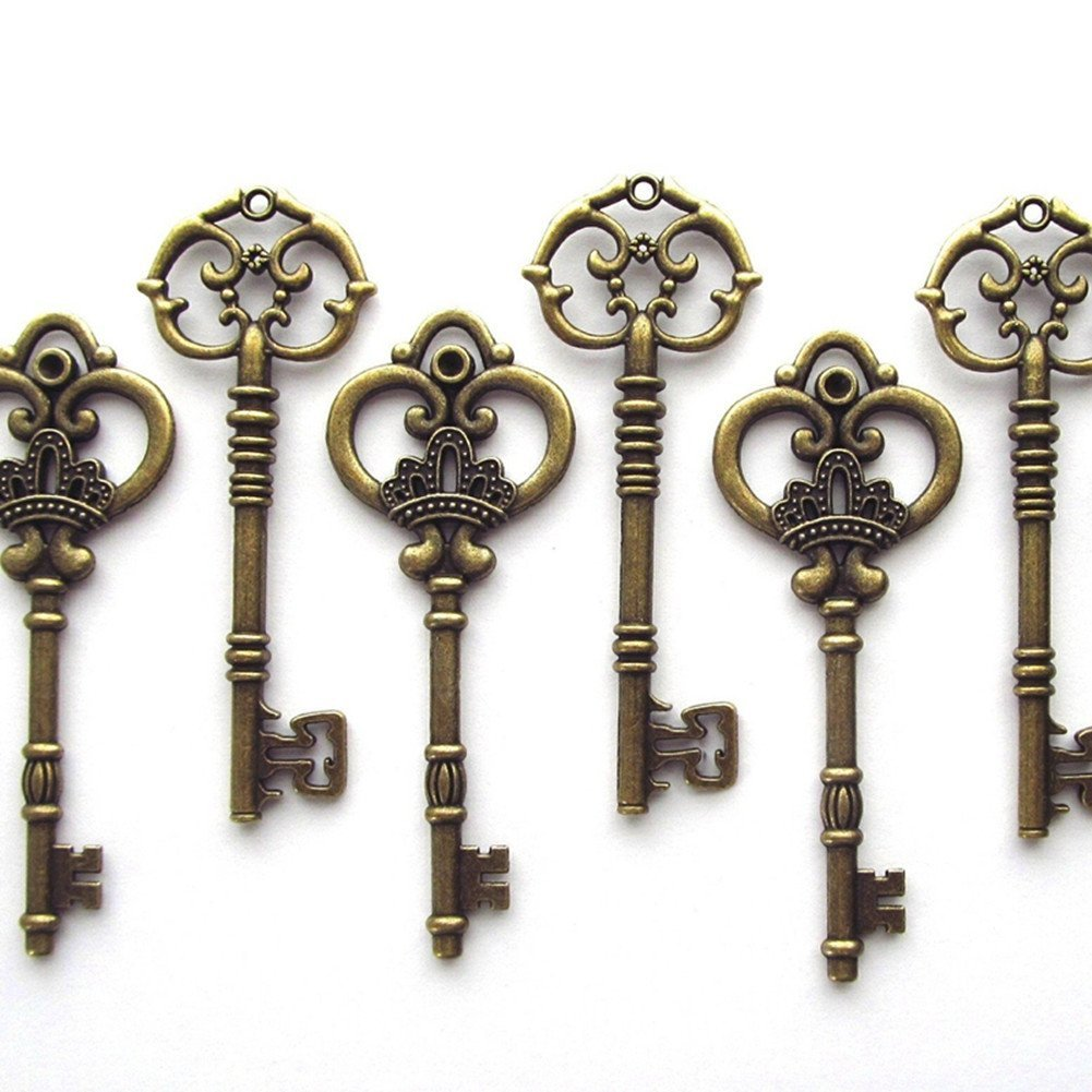 Antique Gold Makhry Mixed Pack of 30pcs Vintage Skeleton Keys in Antique Gold Rustic Skeleton Key for Wedding Party Decoration Jewelry Making