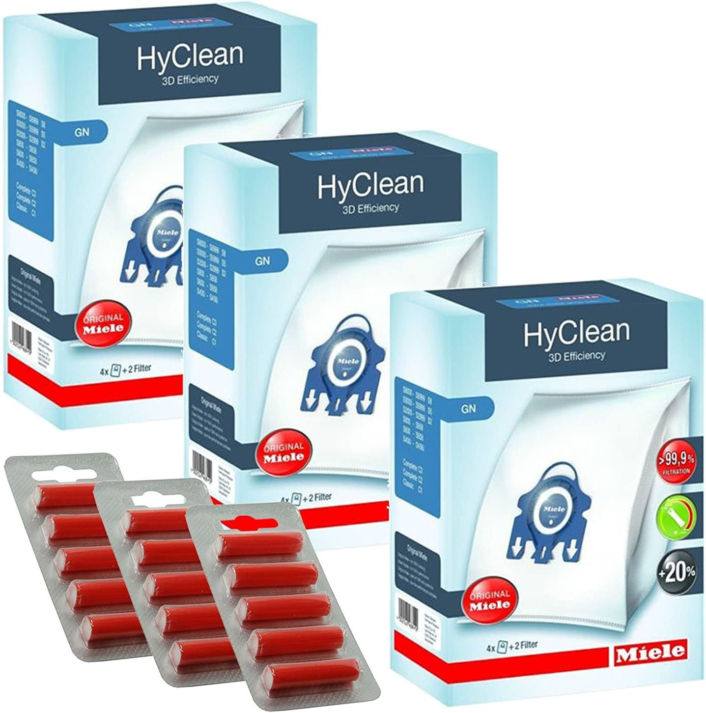 Hepa Filtro per miele C3 Aspirapolvere Completo 10 x 3D Tipo GN Sacchetti Deodoranti
