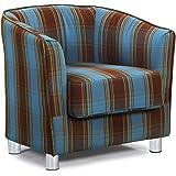 Modern Stylish Fabric Upholstered Grey & Tartan Tub Chair Home Bucket Armchair (Blue/Brown)