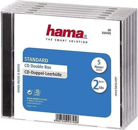 Hama - CD Double Jewel Case Standard, Pack 5, Transparente: Amazon ...