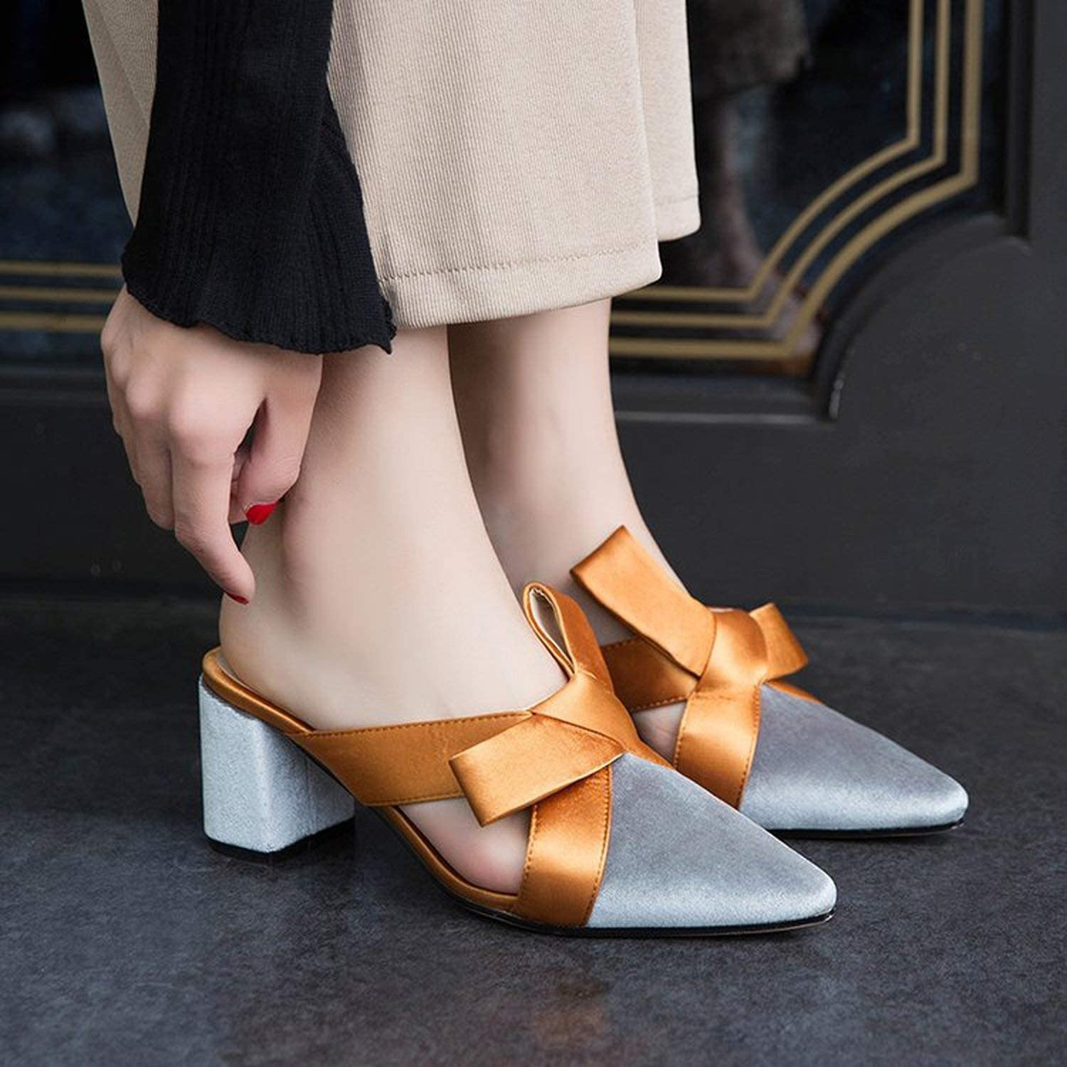 Bowknot Women Slippers Pointed Toe High Heels Slippers Ladies Fashion Women Shoes Zapatos,Black,4