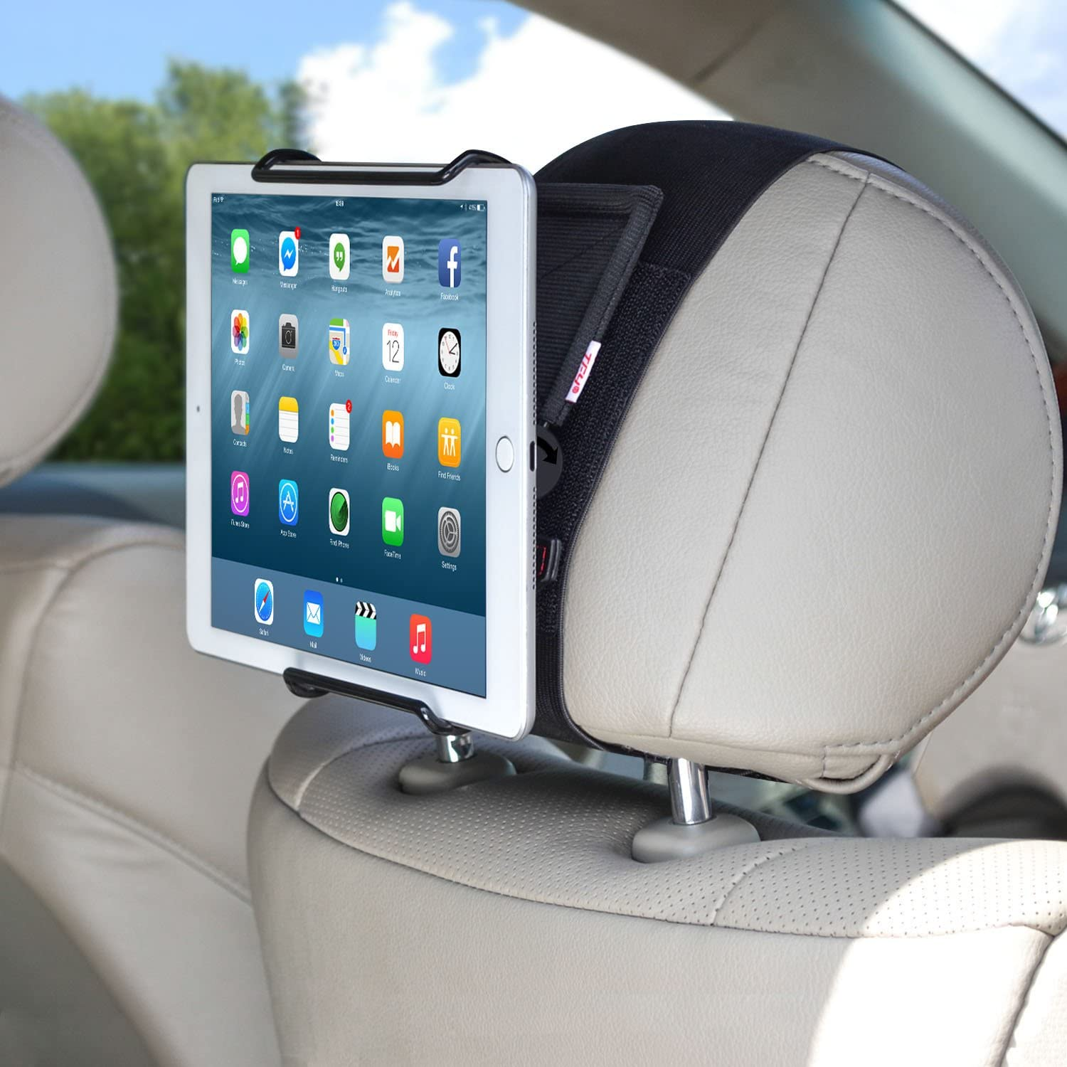 Amazon.com: TFY Universal Car Headrest Mount Holder with Angle- Adjustable  Holding Clamp for 6 - 12.9 Inch Tablets