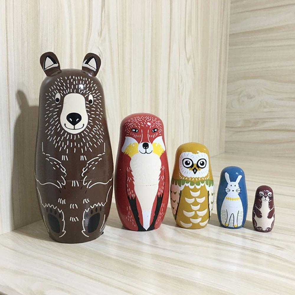 KOBWA Creative Lovely Handmade Wooden 5 Layers Russian Matryoshka ...