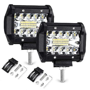 Arbeitsscheinwerfer LTPAG 2 x 120W LED Arbeitsscheinwerfer 4 Zoll 12000LM 6000K IP68 Wasserdicht Offroad Scheinwerfer Arbeitslicht mit 40 LEDs Zusatzscheinwerfer Bar Car LED Spotlight 3 Reihen