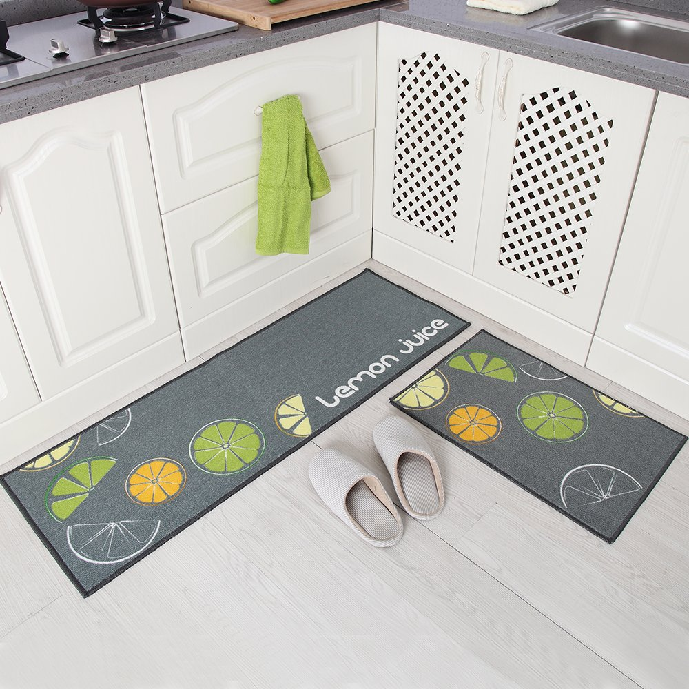 Carvapet 2 Piece Non-Slip Kitchen Mat Rubber Backing Doormat Runner Rug Set, Lemon Design (Grey 15''x47''+15''x23'')