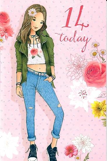 Amazon.com: 14th Cumpleaños Niña – 14 años de edad hoy ...