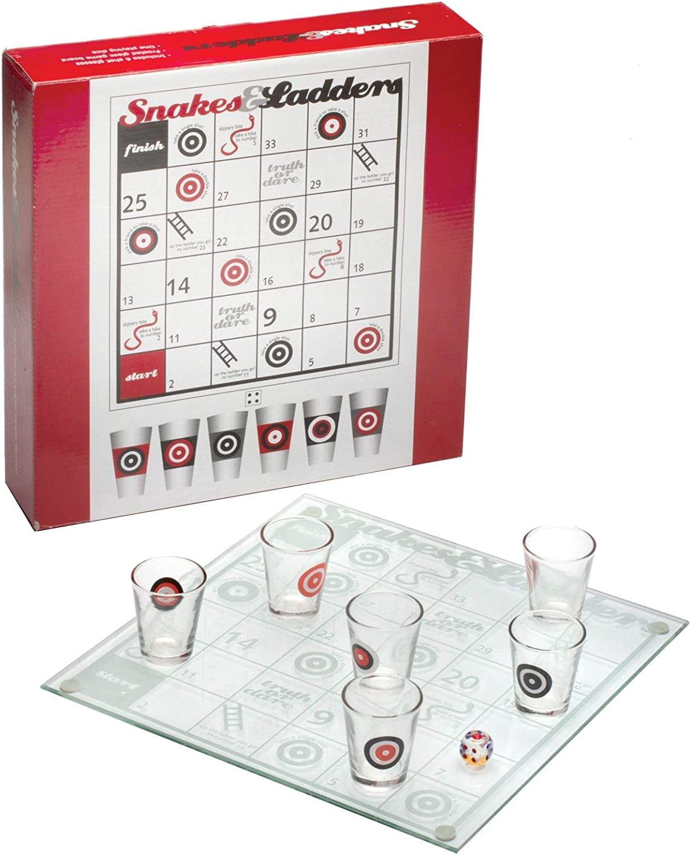 ASAB Snakes escaleras Adultos Juego de Bebida de Cristal Tabla de Jugar Dados Rollo 6 Vasos de chupito – Tradicional Juego de Mesa con una Verdad o Dare Twist: Amazon.es: Hogar