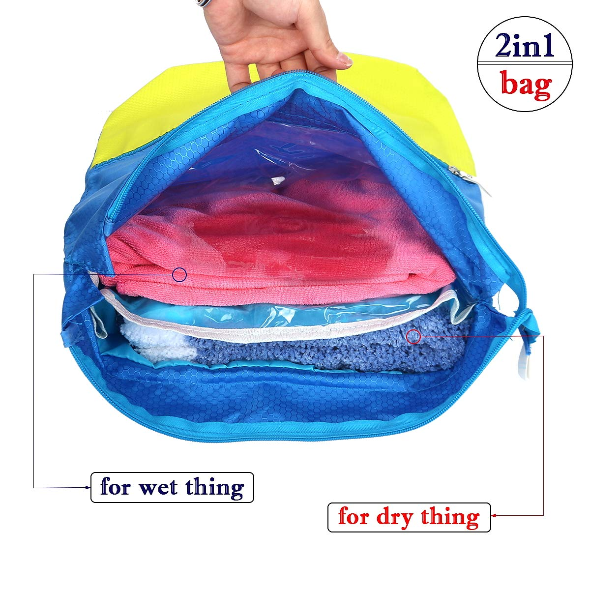 b4af1f099f1 Caeser Archy Swim Bag 2 In 1 Dry and Wet Clothes Separators Swimming  Outdoor School Gym Sports Bag Unisex Storage Bags for Adults and Kids -  Blue Yellow  ...