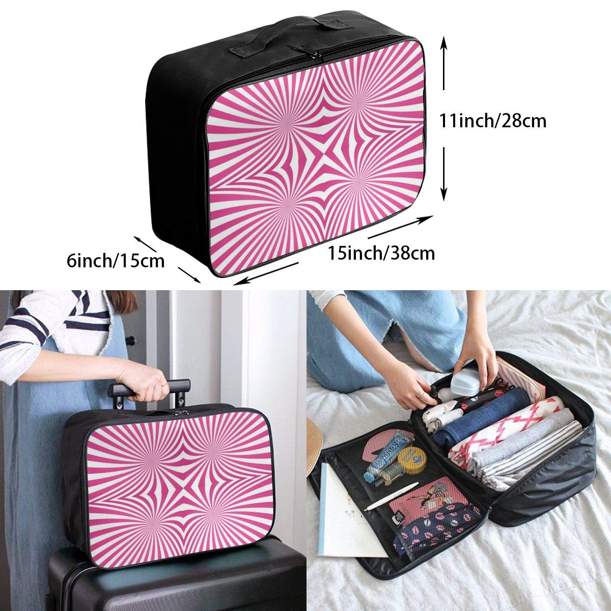 Abstract Rays Stripes Pink Travel Lightweight Waterproof Foldable Storage Carry Luggage Large Capacity Portable Luggage Bag Duffel Bag