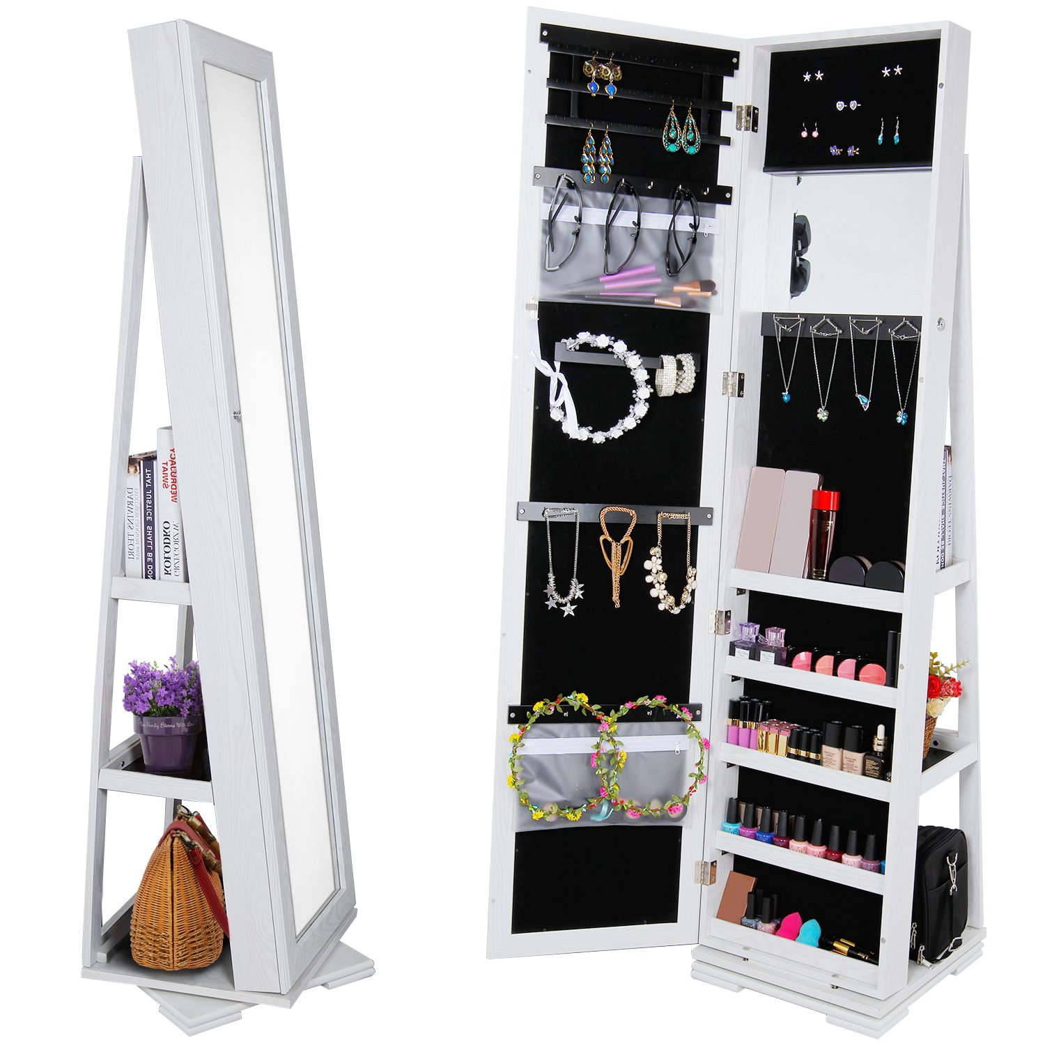 Lifewit Lockable Full Length Mirrored Jewelry Cabinet, Wall Door Mounted Bedroom Armoire, Makeup Organizer with LED Light (White-2)